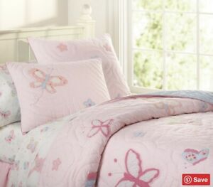 Pottery Barn Kids Lindsey Full/Queen Quilt Sheets Euro Shams 7 Pieces Pink EUC
