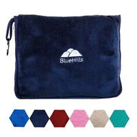 BlueHills Premium Soft Travel Blankets Pillow Airplane Blanket in case - Blue