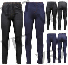 New Women's Ladies Plus Size Stretchy Denim Look Skinny Jeggings Leggings 8-26