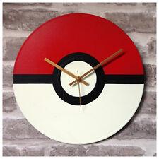 "Vinyl Record Wall Clock 12"" - Pokemon GO Pokeball Stencil Handmade Art"