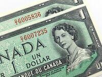 1954 Canada 1 Dollar Consecutive Uncirculated DI Lawson Bouey Banknote R289