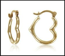 14k Yellow Gold Heart Shaped Hoop Earring extra Small. Hollow. Micro Hoop