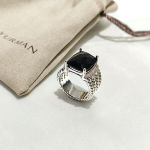 David Yurman Sterling Silver Wheaton Ring With Black Onyx and Diamonds Size 8