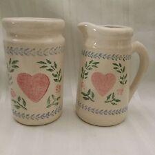 Santa Ana Crock Shop Folk Art Heart Pitcher and Vase