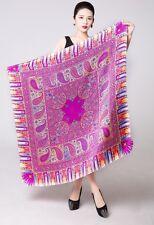 "UScarmen Women's 100% Pure Silk Square Scarf 42"" x 42"" 03002 PURPLE Paisley"