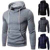 Mens Solid Hoodie Sweatshirt Fleece Warm Sports Casual Pullover Hooded Coat Tops