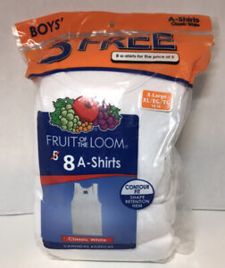 Fruit Of The Loom 8-pack Boys A-Shirts XL(14-16) New In Opened Package Tag Free
