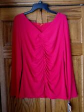 Ladies NARCISCO RODRIGUEZ Berry Ruched LongSleeve V-Neck Top Blouse Size XL NWT