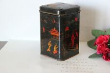 SCATOLA IN LATTA D'EPOCA DECORO GIAPPONE / VINTAGE TIN BOX / ENGLISH TEA CADDY