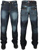 Men's Bootcut Flared Wide Leg Dark Wash Denim Jeans Designer Pants Sizes 28-48