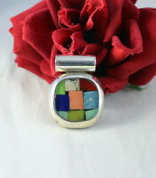 Sterling Silver Mexico Gemstone Inlay   Pendant  15.74g CAT RESCUE