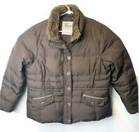 Eddie Bauer Womens Premium Goose Down Brown 700 Fill Quilted Puffer Jacket Coat