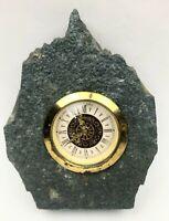 Vintage Mercedes Windup Mantle Clock Embedded In a Slab of Rock Granite WORKS