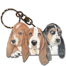 Basset Hound Wooden Dog Breed Keychain Key Ring