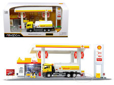 SHELL SERVICE GAS STATION WITH TANKER PLAY SET 1/64 SCALE RMZ CITY 24444-SHELL
