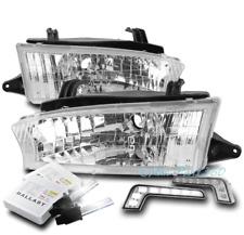 FOR 97 98 99 SUBARU LEGACY OUTBACK CHROME HEADLIGHT LAMP W/DRL LED SIGNAL+6K HID