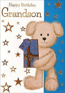 Happy Birthday Grandson Card, Cute Bear With Present, Blue & Gold