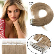 Strong Virgin Human Hair Extensions Tape In Full Head Weft Black Brown Blonde US