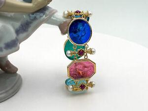 TAGLIAMONTE (HQCR001A) 925 SS/ YGP Venetian Cameo Bracelet *Pearls, Rubies*