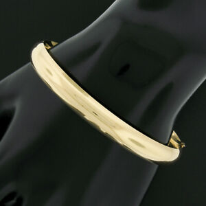 """Costa Rica Solid 14K Yellow Gold 7"""" Simple Polished Hinged Open Bangle Bracelet"""