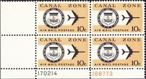 Canal Zone - 1970 - 10 Cents Dull Orange & Black  Airmail Plate Block # C48 NH