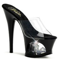 Pleaser MOON-701TG Women's Clear Black Silver Cut-Out Platform Slip On Sandals