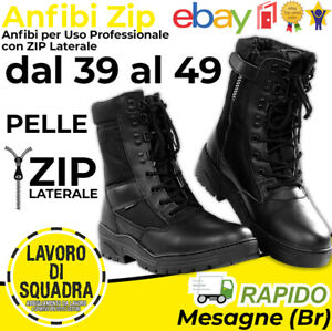 Anfibi con ZIP Stivali Militari Neri Anfibio Militare Pelle Militaria Fostex