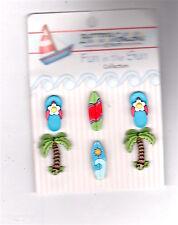 Novelty Button-Paradise Found-Palm Tree/Surf Board/FlipFlop-Vicki Schreiner-6 Pc