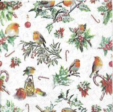Lot de 4 Serviettes en papier Décor de Noël Oiseaux Decoupage Decopatch