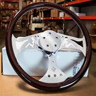 18 Dark Wood Steering Wheel Chrome Pin-up Spoke Kenworth Peterbilt Hub Included