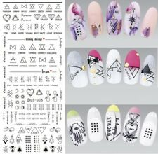 2 Sheets Black Triangle Heart Nail Art Transfer Stickers 3D Manicure Tips Decal