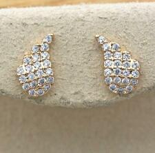 18K Gold Filled- Flower Leaf Wings Inlaid Gemstone Topaz Zircon Stud Earrings DS