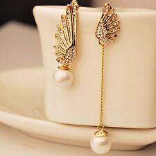 One Pair Women Elegant Wings Rhinestone Ear Stud Gold Dangle Earrings Jewelry