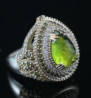 925 Sterling Silver Handmade Gemstone Turkish Emerald Ladies Ring Size 7-9