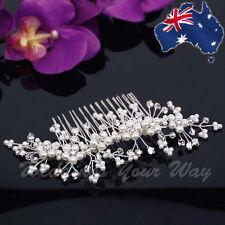 SALE Diamante & Pearl Bridal Hair Comb Rhinestone Jewellery Wedding Formal HC-13