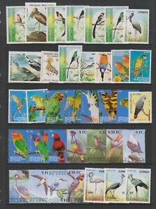 Congo - Small Collection of 72 Bird stamps - MNH & Used