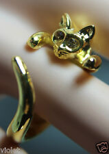 Gold cat ring with golden eyes NEW wraparound open ring, adjustable to fit all