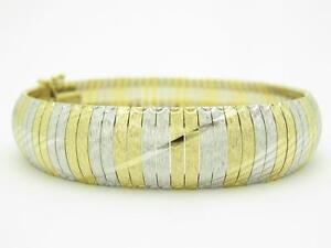 "14k Two Tone Gold Diamond Cut Design Soft Bang Bracelet 26.1 Grams 7.5"" Length"