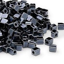 100 Metallic Hematite Miyuki Cube Glass Beads 4MM