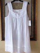 Eileen West womens white sleeveless cotton & eyelet lace short nightgown Large
