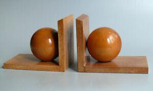 2 Holzbuchstützen mit Holzkugeln VEB (K) Holz Naumburg aus den 60er 70er Jahren