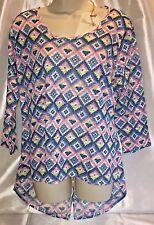 NEW Wrangler Scoop Neck L/S 3LG49WG Hi Low Aztec Print Top Shirt Large NWT