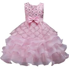 Wedding Flower Girls Bridesmaid Ruffles Lace Cute Bow Pink Evening Dress Size 4