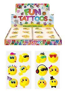 24 x SMILEY EMOJI Temporary Tattoos Childrens Kids Girls Boys Party Bag Fillers