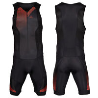Men Triathlon Tri Suit Padded Compression Running Swimming Cycling Skinsuit Red