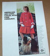1965 print ad - Cone Mills fashion clothing Girl cute shaggy dog Vintage Advert