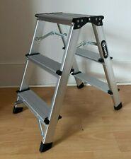 More details for 3 step heavy duty stool ladder lightweight foldable aluminium folding platform