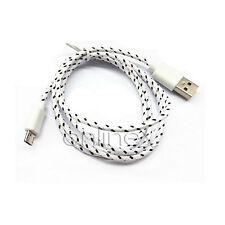 Cable Micro USB a USB CORDÓN Nylon Resistente Color Blanco y Negro a1746