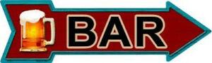 """Bar Directional Metal Arrow Sign 17"""" x 5"""" ↔ Beer Mug Pub Man Cave Fun Wall Decor"""