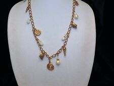1928 Brand Sea Shell, Star Fish Pearl Bead Charm Chunky Gold Tone Chain Necklace